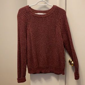 H&M Basics Maroon Cable knit Crew Neck Sweater